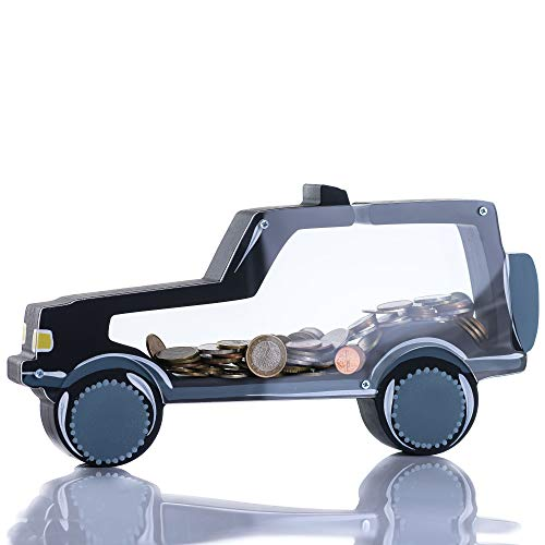 Zeinum Black Car SUV 300 Coins Reusable Piggy-Bank | Hand Painted in Europe | Gift Box | Cute Money-Jar | Useful Toy for Kids Teens Boys Girls Adults Room Bedroom Decoration