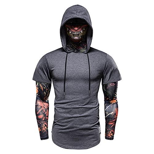 SSBZYES Camiseta para Hombre Ropa de Fitness de Verano de Fitness elásticos Falso de Dos Piezas Brazo de Flores Ropa de Seda de Hielo Montar con Capucha Ropa de protección Solar de Verano