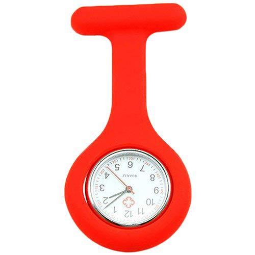 Kuizhiren1 Silikon-Taschenuhr, süße Silikon-Schwesternuhr, Brosche, Taschen-Tunika, Quarz-Uhrwerk rot
