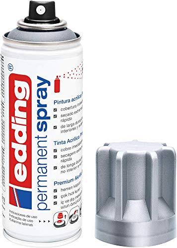 edding 5200-923 - Spray de pintura acrílica premium, 200 ml de máxima opacidad, cubre inmediatamente, secado rápido sin burbujas, color plata mate