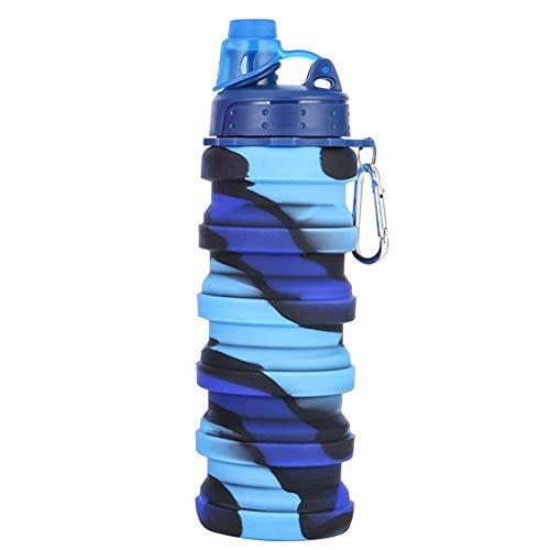 Kakoop Botella de Agua Deportiva 500ML Silicona Botellas Agua Plegables Taza de Agua para Fitness Gimnasio Yoga Ciclismo Deportes al Aire Libre
