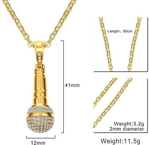 ZPPYMXGZ Co.,ltd Collar de Moda Acero de Titanio + Micrófono de Diamantes de imitación Hombres Collar Colgante Moda Dorado Plata Joyería Creativa Simple Varios Accesorios de Tendencia.-Oro