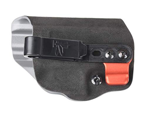 G-CODE G43/G43X INCOG Eclipse Holster: Right Hand/Black Fuzz ON Grey KYDEX/Half Guard- RED SUPERMOJO with 3 Hole Clip: 100% Made in USA (1153-3B)