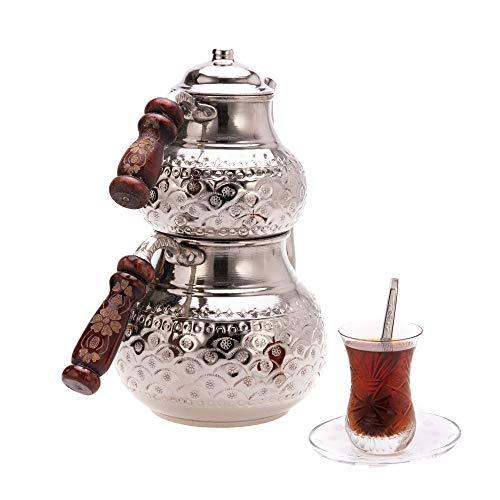 Türkische Kupfer Teekanne -Teekocher -Türkische Teekanne Set-Caydanlik - Türkisch Demlik (Ersatzkanne)-Orientalisch türkisches gehämmert handgefertigte kupfer Teekanne/Teekocher (Modell5)