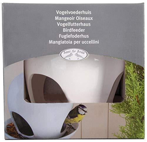 Esschert Design Vogelhaus, Vogelfutterhaus mit Kuppel aus Keramik in weiß, zum Aufhängen, ca. 19 cm x 19 cm x 18 cm - 4