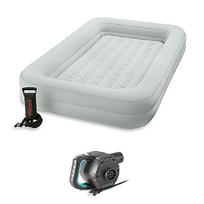 Intex Kids Inflatable Raised Frame Travel Air Bed w/Hand Pump & Electric Pump