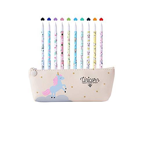 Unicorno Penne,Southstar 10 Unicorno Penne di Colori e 1 Astuccio per Matita Unicorno per Amanti dei Fenicotteri e Degli Unicorno, un Ottimo Regalo x una Bambina (crema)