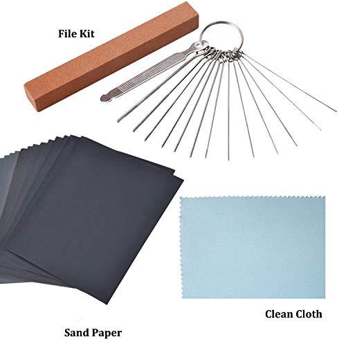 Gitarre Reparatur Kit, 13 Nadelfeilen in verschiedenen Größen aus Edelstahl, 6 Stück Schleifpapier und Mikrofaser-Reinigungstuch für Gitarren-Ukulelen