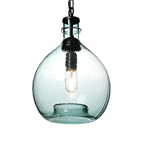 TRUSTWOODS Hand Blown Glass Pendant Light Kitchen Island Hanging Lighting, 11'' diam.16.9''h, Light Green, 1 Light