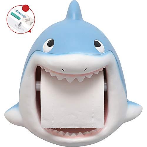 LHY BATHLEADER Portarrollos Baño Tiburón Material De Resina Portarrollos para Papel De Cocina Sin Taladro Portarrollo para Papel Higiénico para Baño, Cocina, Comedor