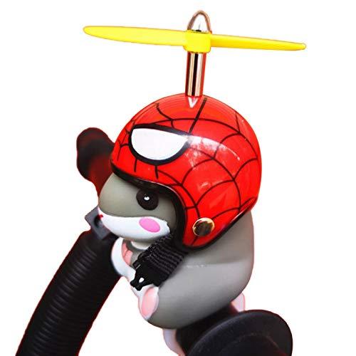 Akopiuto Luces de Bicicleta Bell Cute Yellow Duck Hamster con Sombrero Manillar Lámpara de bocina para Motocicleta Motor Casco Montar en Bicicleta Coche D