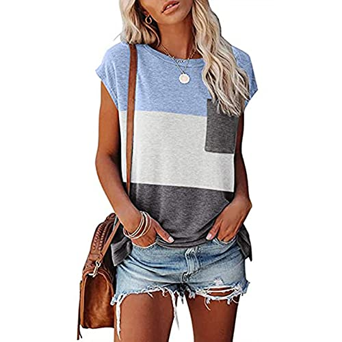 Camiseta Casual De Verano para Mujer, Cuello Redondo, Bolsillo De Empalme De Tres Colores, Camisetas Sueltas De Manga Corta