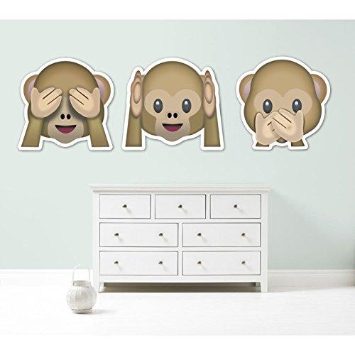 Kapowboom Graphics Emoji emoticonos Tres Monos See No Evil Hear No Evil Speak No Evil Gigante Vinilo Coche Pegatina de Pared 3Opciones de tamaño, Vinilo, Each Monkey 40cm Wide