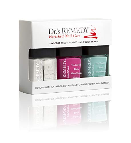 Dr.'s Remedy All Natural Vegan Nail Polish SENSATIONAL SUNSHINE Organic Non Toxic 3 Piece Quick Dry Long Lasting - TOTAL Two-In-One Glaze HOPEFUL Hot Pink TRUSTING