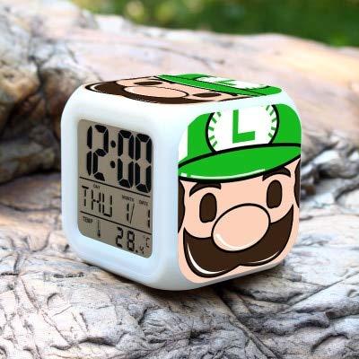 Super Mario Bros Wecker Kinder LED Uhr Cartoon Nachtlicht Flash 7 Farbwechsel Digitaluhr elektronische Schreibtischuhr