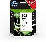 HP 303 3YM92AE, Negro y Tricolor, Cartuchos de Tinta Originales, Pack de 2, compatible con impresoras de inyección de tinta HP Tango y Tango X; Envy 6220,6230,7130,7830