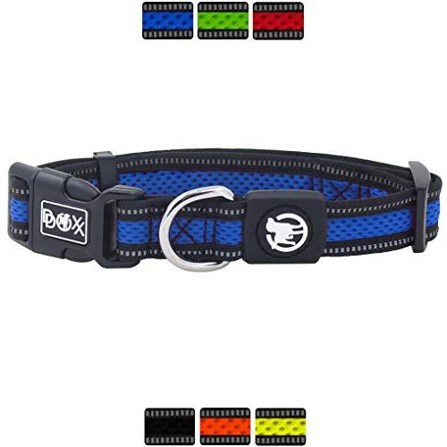 DDOXX Hundehalsband Air Mesh, reflektierend, verstellbar, gepolstert | viele Farben | für kleine & große Hunde | Halsband Hund Katze Welpe | Hunde-Halsbänder | Katzen-Halsband klein | Blau, S