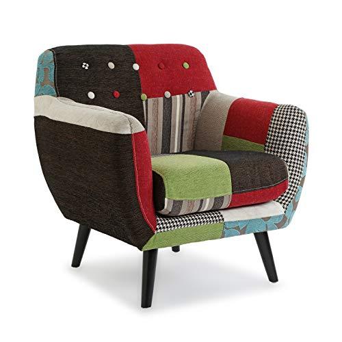 Versa Green Patchwork Sessel für Wohnzimmer, Schlafzimmer oder Esszimmer, bequemer und Anderer Sessel, mit Armlehnen, Maßnahmen (H x L x B) 63 x 68 x 12,8 cm, Baumwolle und Holz, Farbe: Grün