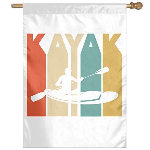 RJin92 Vintage Style Kajak Silhouette Vertikale Flagge Im Freien Garten Flagge Dekorative Haus Flagge 27 'X 37'