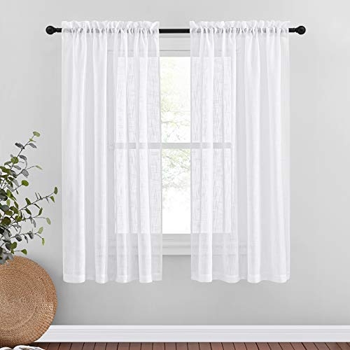 "NICETOWN Faux Linen Sheer 63"" Curtains - Rod Pocket Bedroom Window Panels Privacy Translucent Semi Voile Sheer Drapes for Kids Room (W52 x L63, White, 2 Pieces)"