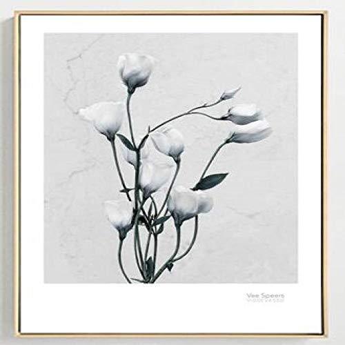 Geiqianjiumai Home Decor Rahmenentfernung Mädchen Brave Fox Blumen - Ölgemälde Leinwand Kunstdruck Poster Ölgemälde Modular Wohnkultur 50x70cm