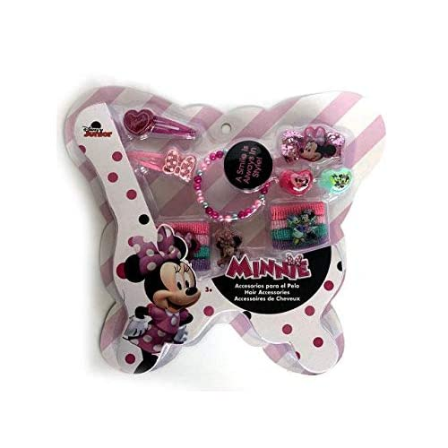Disney Minnie Mouse Set Accessori Capelli 4 Pezzi Clamshell di Minnie Mouse, Multicolore, 200 grammi