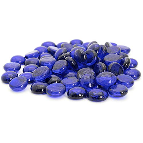 Royal Imports Glass Flat Marbles, Party Table Scatter, Wedding Centerpieces Decor, Aquarium Pebbles, Vase Filler Gems, 5 LBS (Approx 400 pcs), Blue
