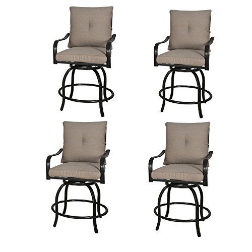 Rimba Outdoor Swivel Chairs Height Patio Bar Stools with Beige Cushions (Set of 4)
