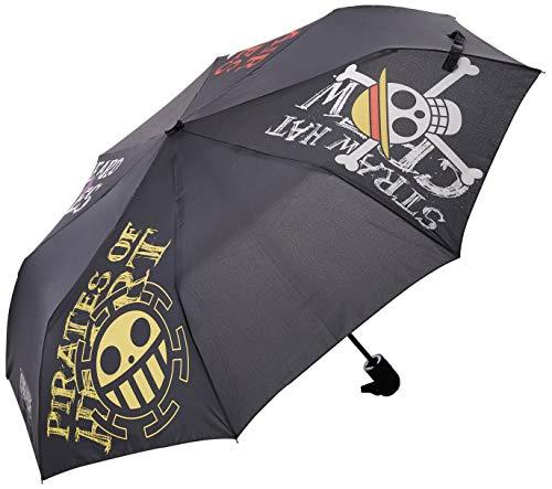 One Piece Automatik Regenschirm Embleme schwarz, bedruckt, aus Kunststoff, in Kuppelform.