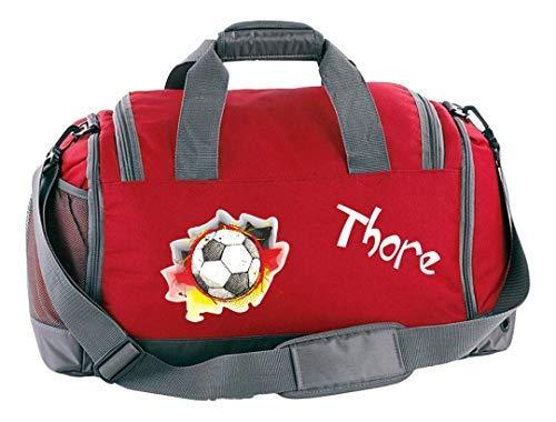 Mein Zwergenland Sporttasche Kinder mit Schuhfach und Nassfach Kindersporttasche 41L mit Namen personalisiert, Motiv Deutschlandball, in Rot