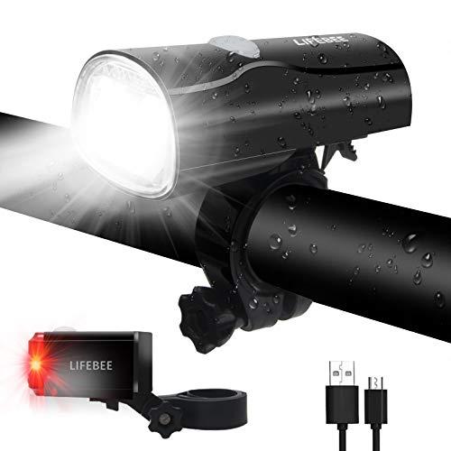 LIFEBEE LED Fahrradlicht, USB Fahrradlampe Fahrradbeleuchtung Frontlicht Rücklicht Set, Wasserdicht Fahrradlichter Set Fahrradleuchten Fahrrad Licht mit 2 Licht Modus