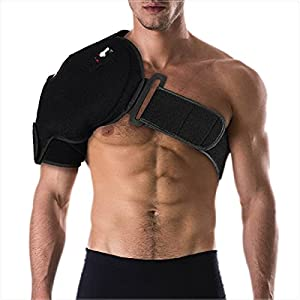 Fits left or right shoulder. Helps Accelerate Recovery: from injuries while delivering targeted relief from pain for either shoulder. Includes one support, one compression air pump, and one removable hot/cold gel pack. Fits chests up to 50 inches. No...