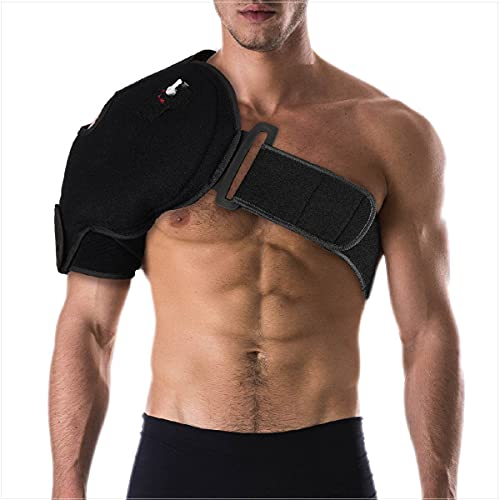 NatraCure Hot or Cold and Compression Shoulder Support 6032 - (Left or Right Shoulder Ice Pack Brace) - (For Physical Therapy, Rotator Cuff, Post Surgery or Operation, Sprains, Strains and Pain)