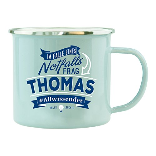 History & Heraldry Echter Kerl Emaille Becher, Thomas, Mehrfarbig