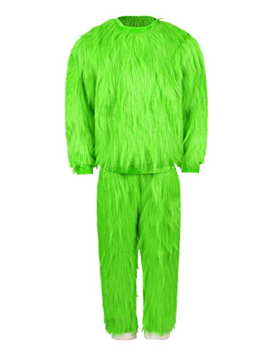 Green Pullover Hoodie with Pants Halloween Cosplay Full Set Fur Costumes 2XL