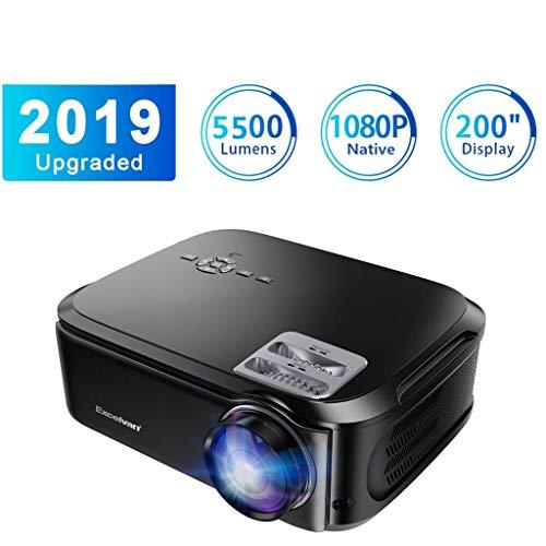 Proiettore Excelvan Mini Proiettore Portatile 4000 Lumen Full HD 1080P/USB/VGA/SD/HDMI/AV Risoluzione 1920*1080 200'' Display Contrasto 1300:1 per Casa Viaggio Compatibile con PS4 TV Box Cellulare PC