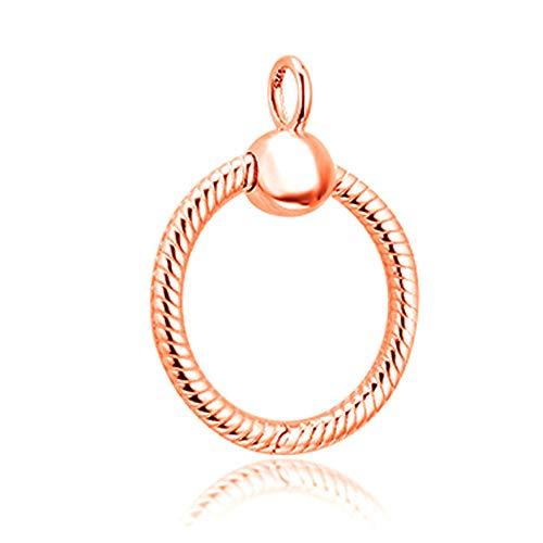 MOCCI 2019 Jesień 2019 Jesień Róża Rold Moments mały wisiorek srebro próby 925 DIY pasuje do oryginalnych bransoletek Pandora Charm Modna biżuteria (różowe złoto)