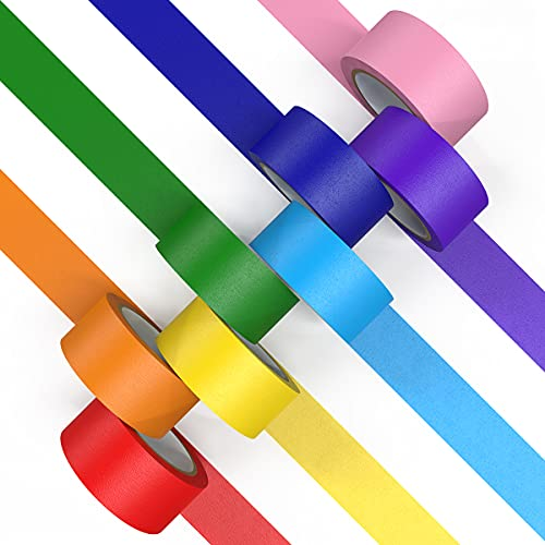 Colored Masking Tapes 1 inch Wide 12 Yards (11m) Long 8 Rolls, Color Tapes Colored Painters Tapes Craft Tape Artist Tape Colorful Tape for Kids, Arts Crafts, Labeling, Classroom, 8 Colors