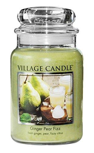 Village Candle Ingwer-Birne Brause große Duftkerze im Glas, 737 g, grün, 9.7 x 9.5 cm