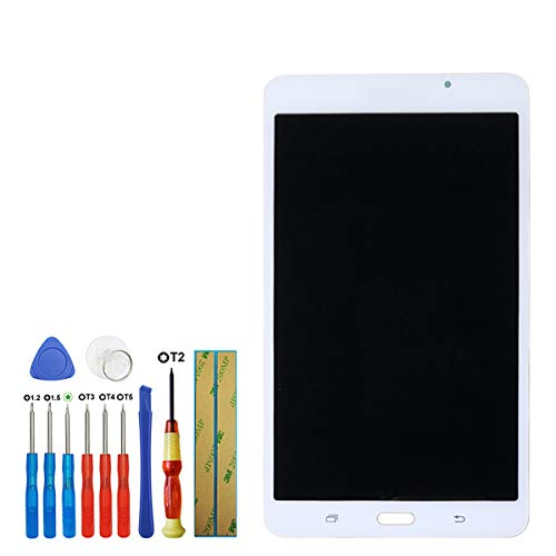 swark - Display LCD compatibile con Samsung Galaxy Tab A 7.0 WiFi Tablet SM-T280 (non per versione 3G & T285 & No Earpiece Hole) 7,0 pollici Display Assembly (bianco + senza cornice) con strumenti
