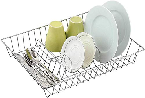 Mega_JumbleSale Cesta escurridora de platos con revestimiento de plata, 43 x 34 x 7,5 cm   Organizador de cocina para platos y cubiertos