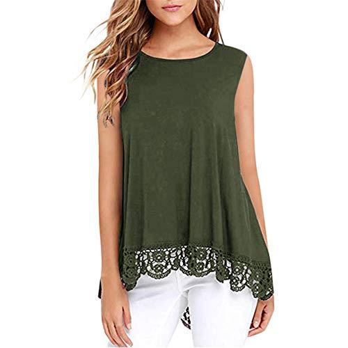 T-Shirt Damen Bluse Damen Bequeme Elegante Süße Rundhalsausschnitt Ärmellose Langarm Spitze Saum Sommer Mode Freizeit Urlaub Strand Damen Top Damen Oberteil B-Green XL