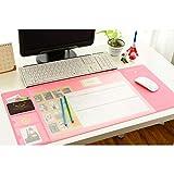 Tapis de bureau multifonction ultra fin imperméable avec poches en PVC transparent pour la maison ou le bureau rose