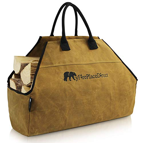 MyFirePlaceDirect Heavy Duty Waxed Canvas Log Carrier Tote Bag with Unique Embroidered Logo Extra Large Durable Firewood Holder with Strong Comfort Handle Heavy Duty Wood Carrying Bag