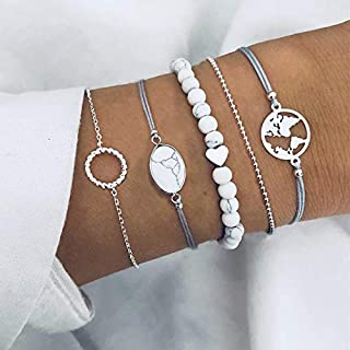Round Ocean Bohemian Gray Rope Chain Bracelets Bangles Sets For Women Jewelry Gifts