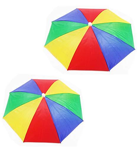 2 pcs Fishing Umbrella Hat 13'' Diameter Folding Cap Hands Free UV Protection Headwear Umbrella , Multicolor Head Umbrella Cap