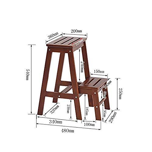QingShunBeiJing Klappstuhl aus Holz, multifunktional, Leiter Hocker, verdickt, Bücherstuhl, tragbar, leicht, Gartenwerkzeug, Leiter, kann als Aufbewahrungsregal verwendet Werden, 2 Steps