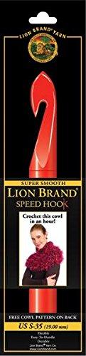 Lion Brand Yarn 400-5-3507 Crochet Hook, 19mm, Red