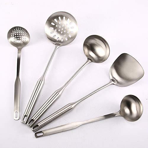 Super Leader 5 pcs Stainless Steel Cooking Utensil Set,Wok Spatula,Soup Ladle Colander,Nonstick Kitchen Utensils Set with Spatula,Kitchenware