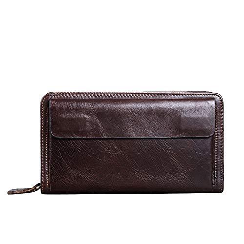 Zzyff Men's Clutch Bag Wallet Double Zipper Men's Leather Business Folder Leather Solid Color Casual (Color : Brown)